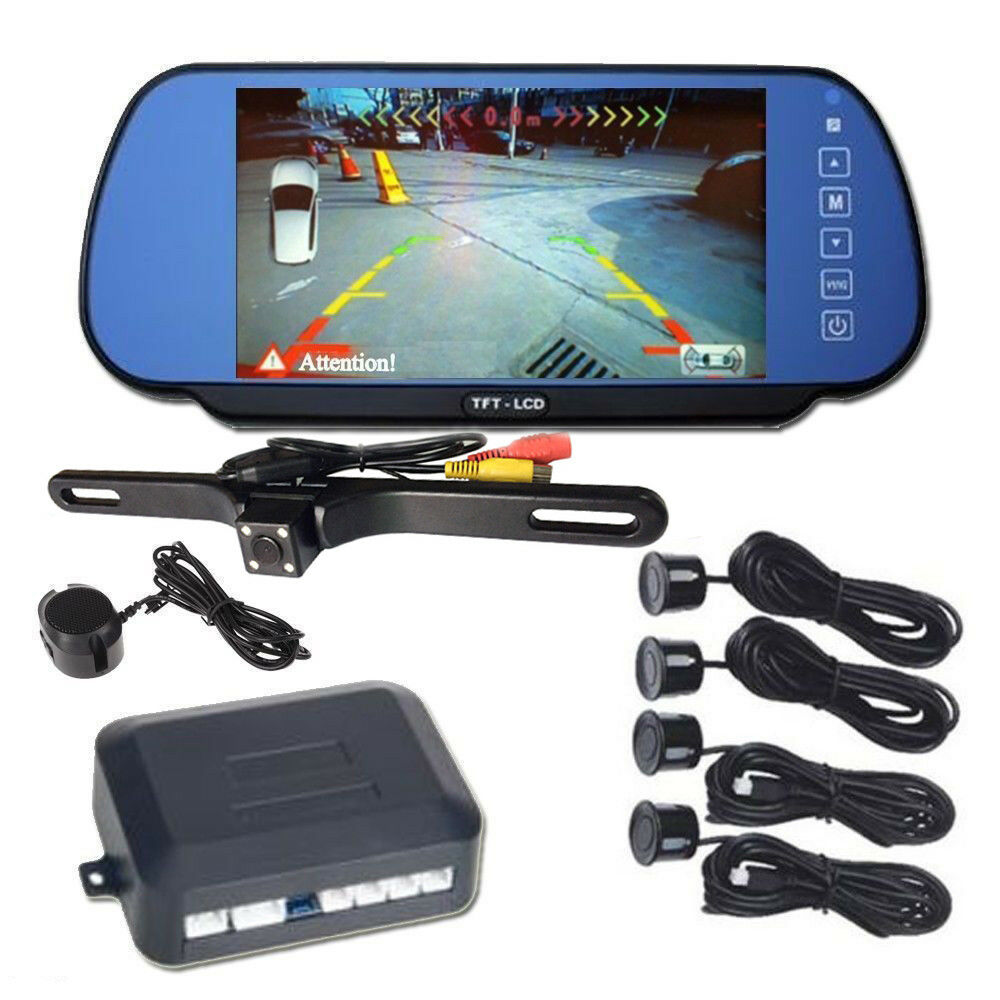 7 car rear view mirror monitor with ir backup camera 4x parking sensor1x beeper ebay. Black Bedroom Furniture Sets. Home Design Ideas