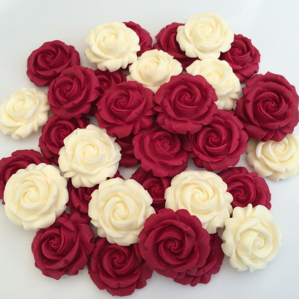 Cake Decorations Edible Photos : 12 RUBY RED CREAM ROSES edible sugar flowers cup cake ...