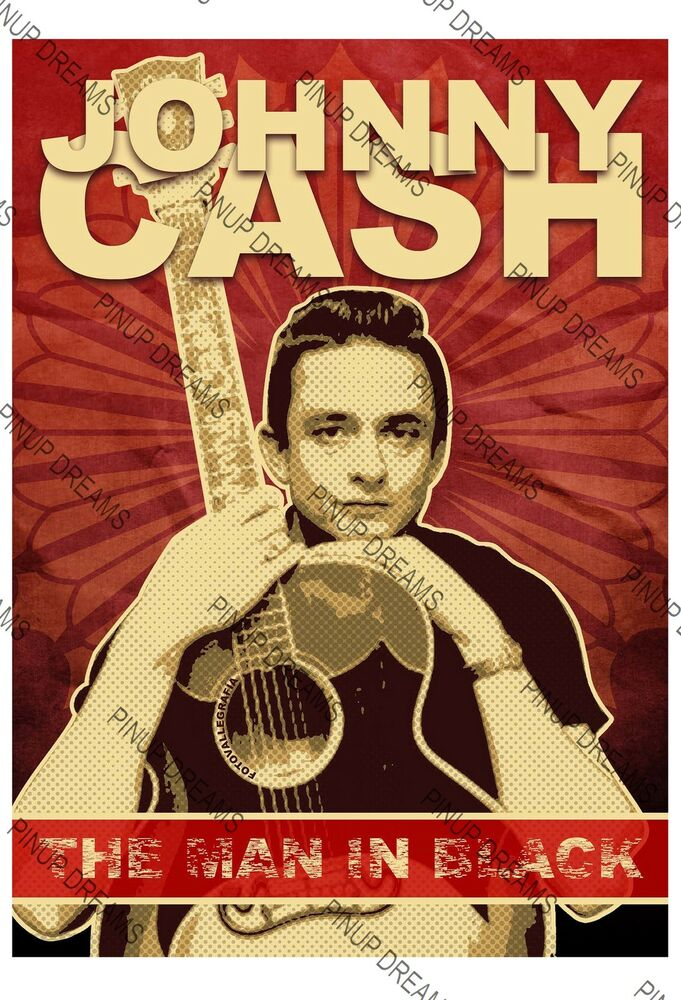 poster vintage johnny cash man in black music rockabilly wall art print a4 a3 ebay. Black Bedroom Furniture Sets. Home Design Ideas