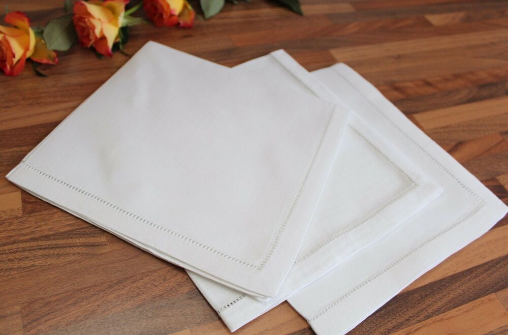 White 100 cotton or linen dinner napkins hemstitch for White cotton table cloth
