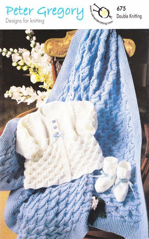 Baby Double Knitting DK Pattern Coat Shawl Bootees Accessories Peter Gregory ...