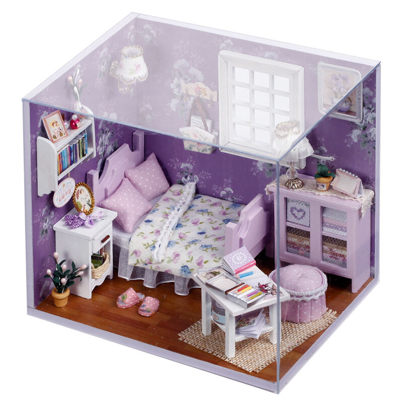 New Doll House Toy Miniature Wooden Doll House Loft With: New Dollhouse Miniature DIY Kit With Cover Wood Toy Dolls