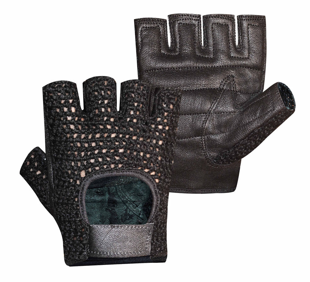 Mesh Weight Lifting Gloves: MESH LEATHER GEL PADDED DOUBLE PALM WEIGHT LIFTING