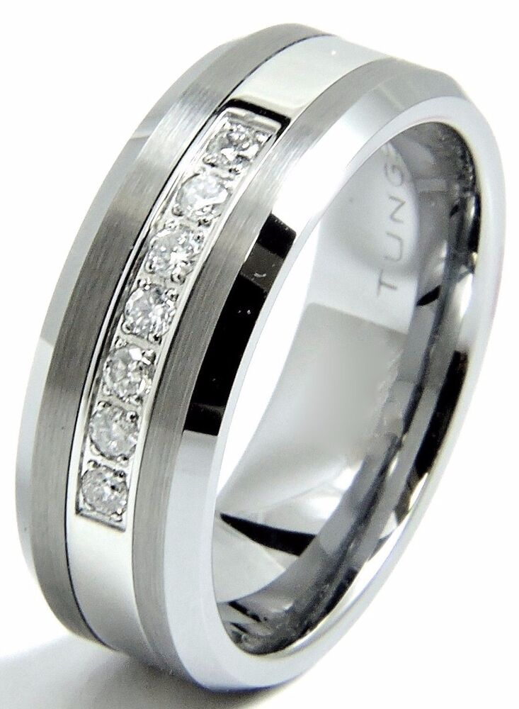 Men 39 S Diamond Tungsten Wedding Band Ring 8mm Real Diamonds Modern Anniver