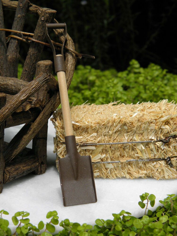 Miniature dollhouse fairy garden accessories rustic rusted tin snow shovel new ebay for How to make a fairy garden accessories