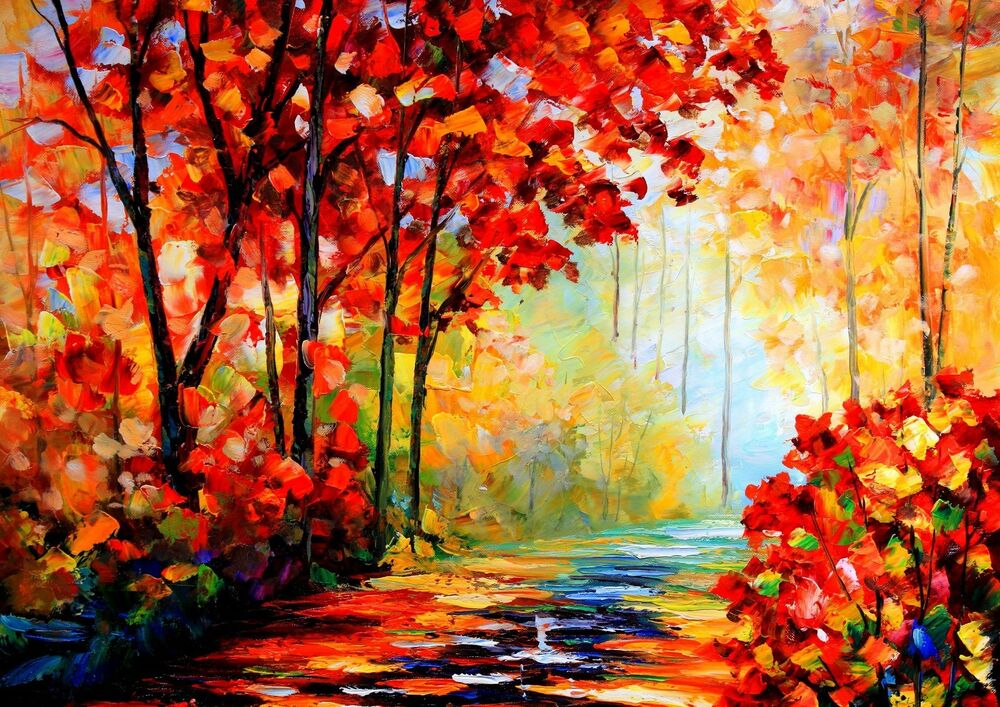 Red autumn oil paint landscape wall art one piece poster for Fall pictures to paint