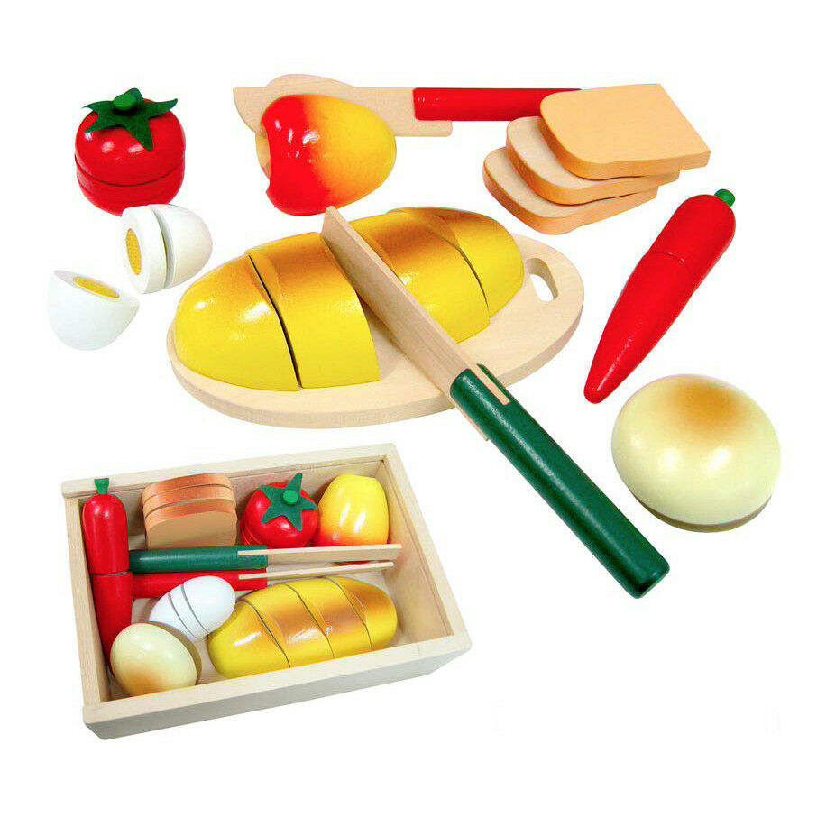 Cutting Velcro Ed Wooden Bread Amp Food Set Pretend Play