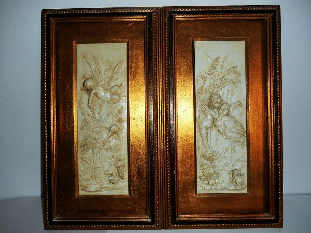 Vintage angles cherubs bas plaster relief wall hanging for Plaster wall art