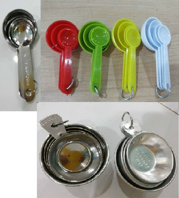 the measuring spoons and cups set with ring holders ebay. Black Bedroom Furniture Sets. Home Design Ideas