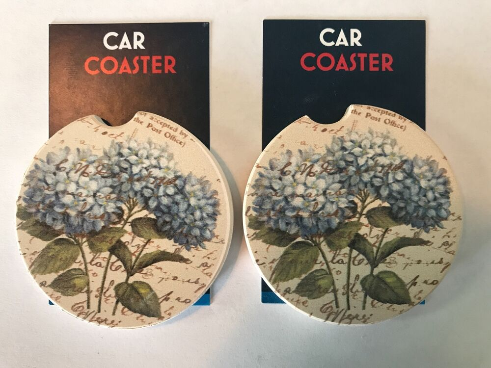 A pair of brand new blue hydrangeas absorbent stone - Stone absorbent coasters ...