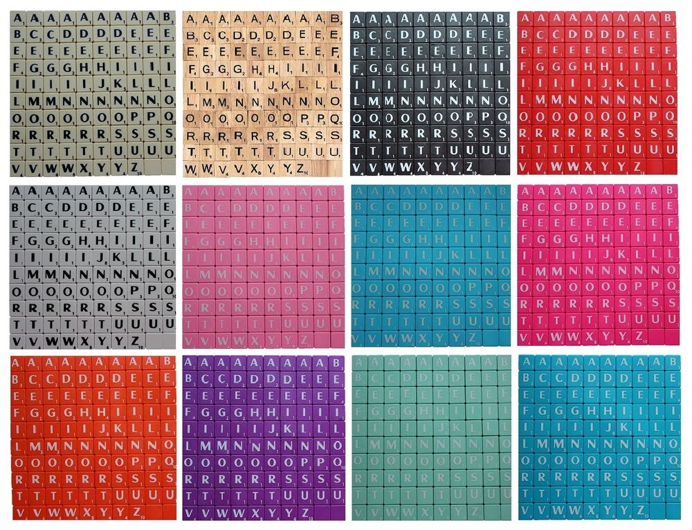 scrabble tiles full size 100 set choice of wood ivory white black blue