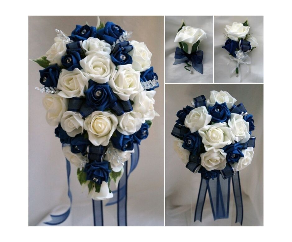 Navy Blue And White Wedding Bouquets : Brides bridesmaids wedding bouquet flowers navy blue