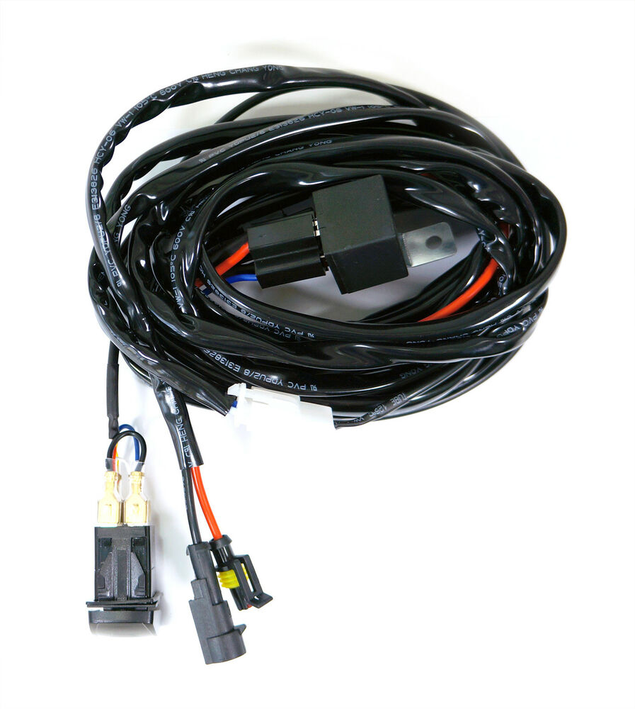 Led light bar on off switch wiring harness kit w