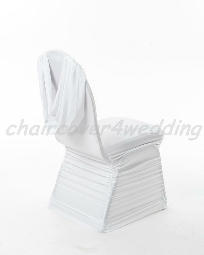 100 Spandex Ruched Swag Back Chair Cover White Ebay