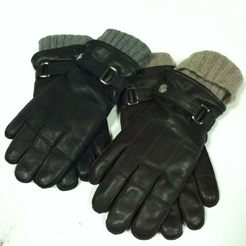 COACH Men's 2 in 1 Leather & Cashmere Gloves Black Brown