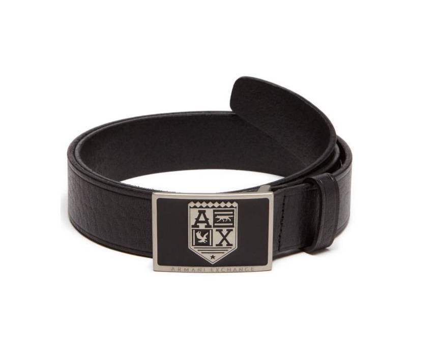 New Armani Exchange AX Mens Leather Crest Belt g6be189 | eBay
