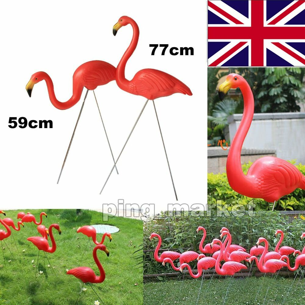 A Pair Of Pink Lawn Flamingo Plastic Garden Party Deco