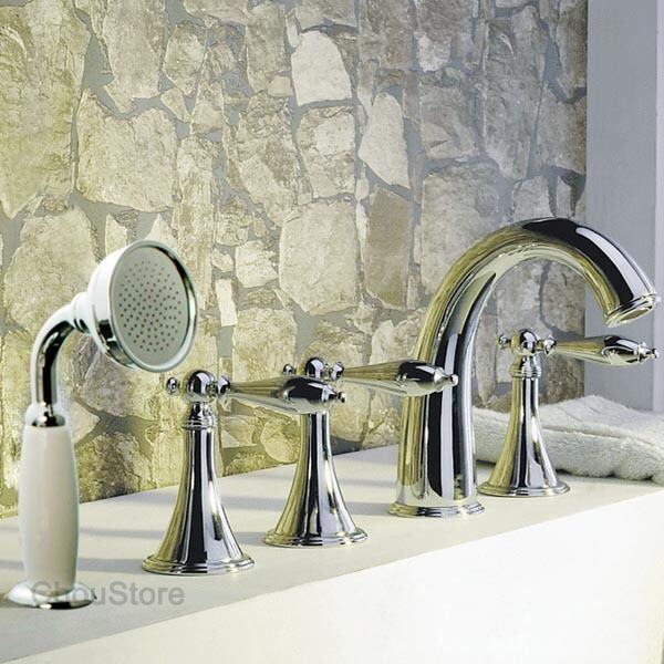 Chrome Deck Mounted Bathroom Bathtub Faucet Tub Mixer Tap 5pcs Hand Shower Set Ebay