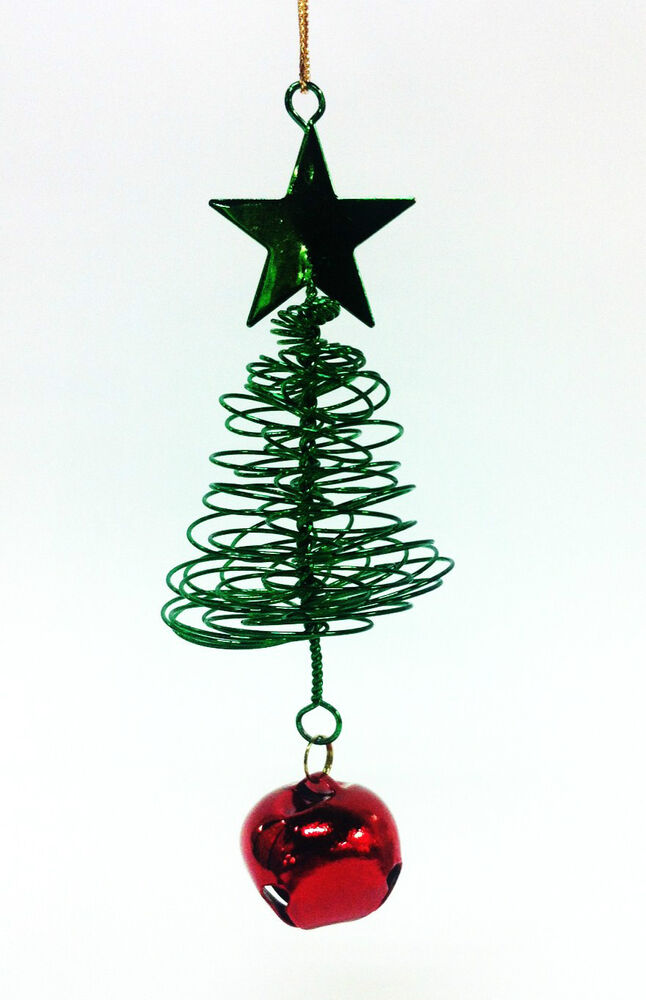 Green metal wire springy christmas tree ornament