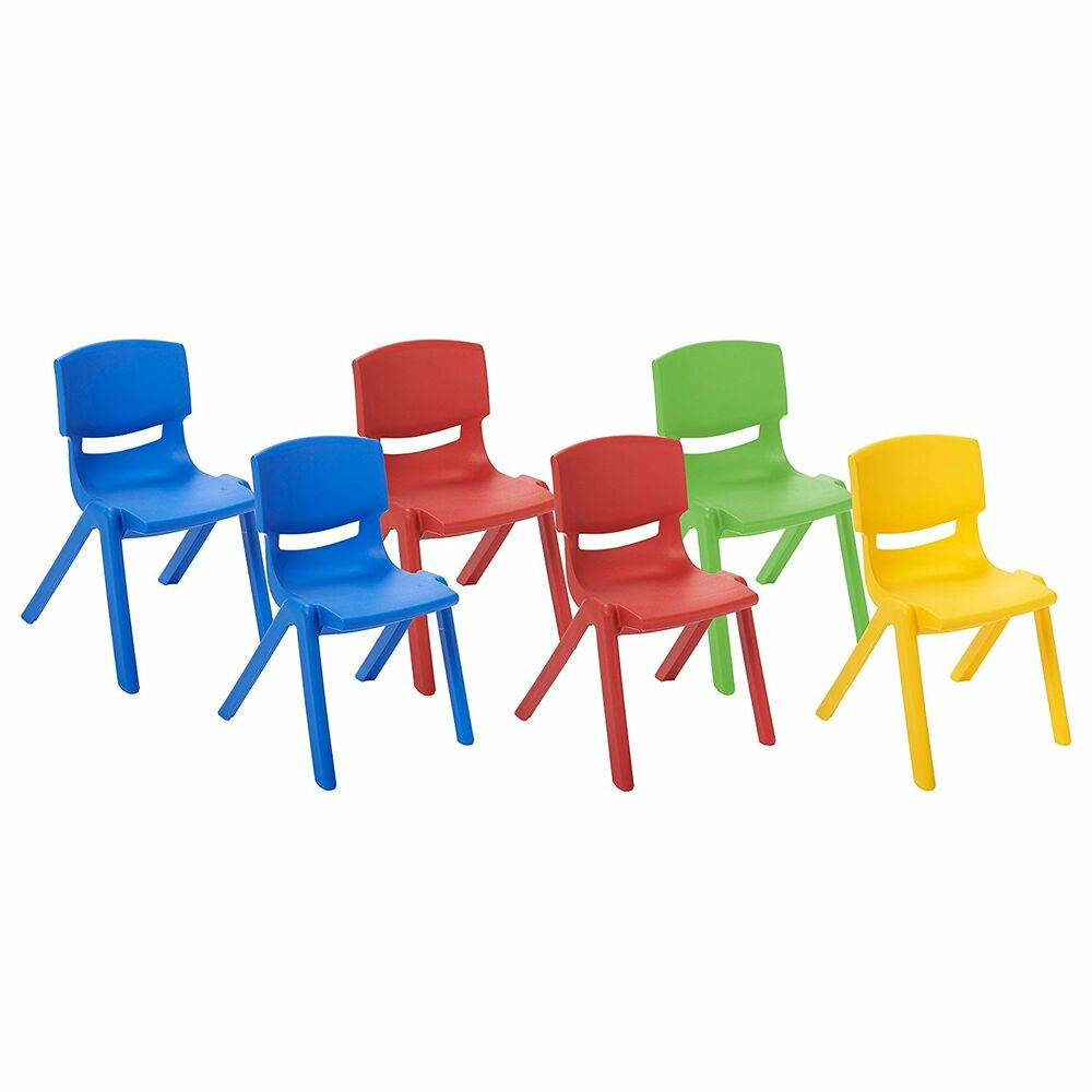 6 PACK Plastic Stackable Preschool Activity Chair With 10 Seat Height