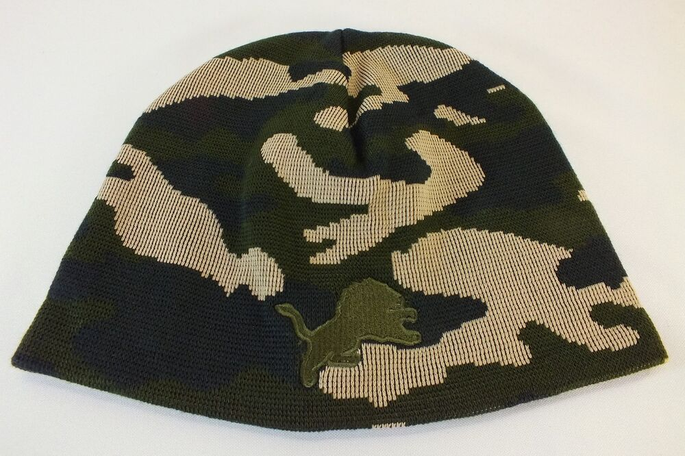Knitting Pattern For Nfl Hats : DETROIT LIONS NFL CAMOUFLAGE KNIT BEANIE WINTER HAT CUFFLESS NEW NFL PRODUCT ...