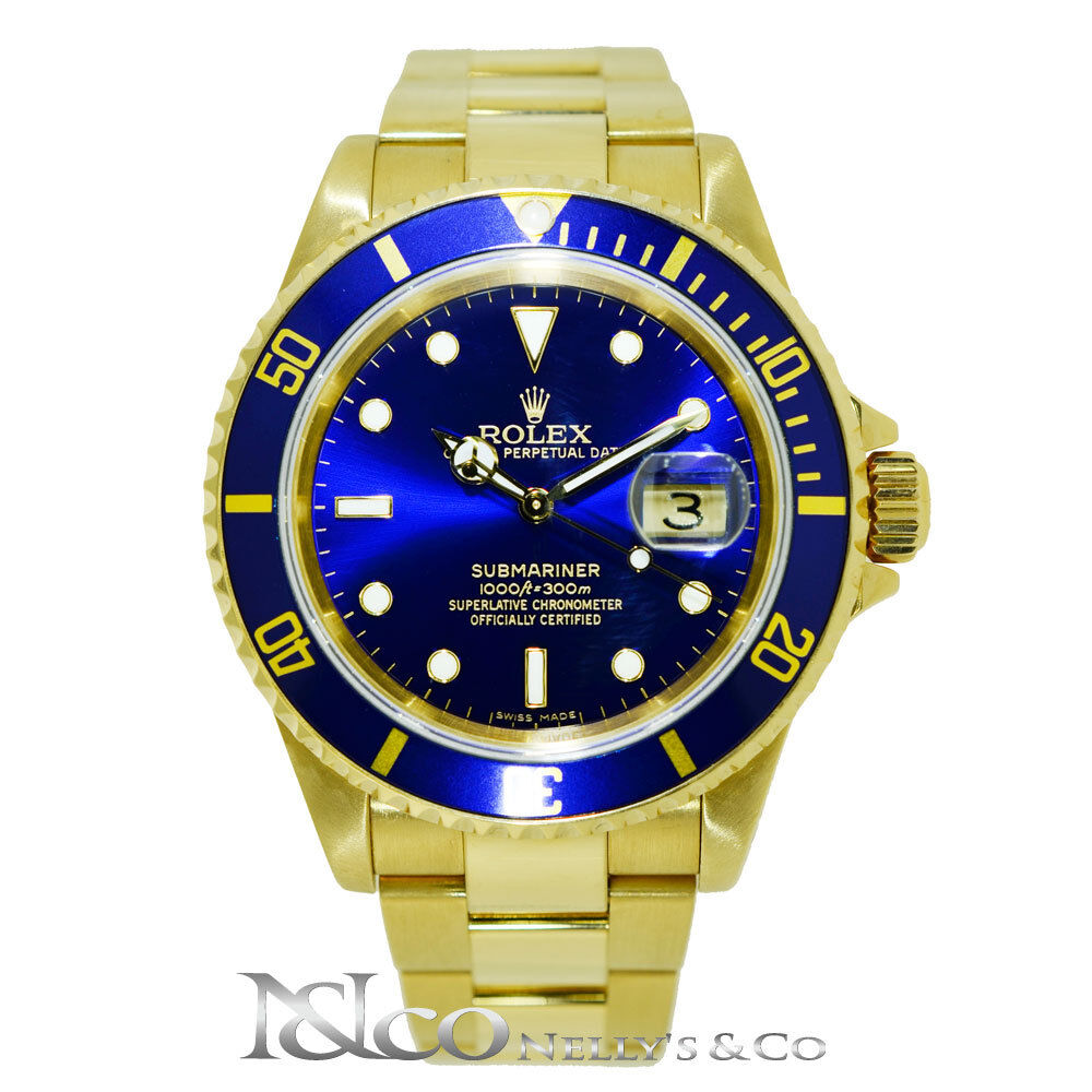 rolex submariner date solid 18k yellow gold with blue dial bezel ebay. Black Bedroom Furniture Sets. Home Design Ideas