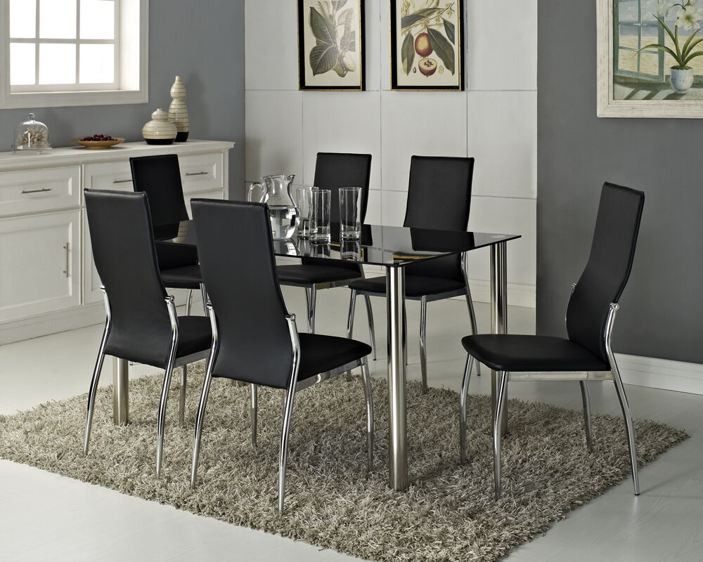black glass dining table set and with 4 or 6 faux leather chairs
