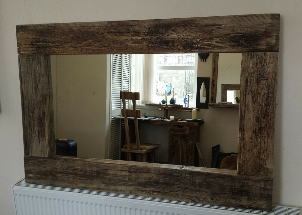 Rustic reclaimed driftwood farmhouse wide frame wooden for Wide framed mirror