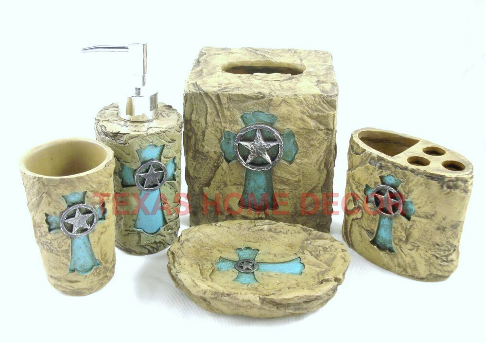 Western turquoise cross star bathroom accessory set 5 for Aqua bathroom accessories sets