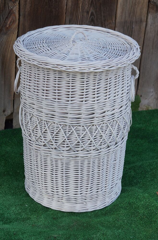 Lidded Wicker Willow Linen Laundry Bin Storage Basket H 29