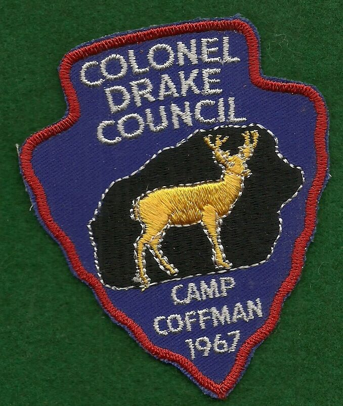 boy scout patch 1967 camp coffman colonel drake council lot 24 ebay. Black Bedroom Furniture Sets. Home Design Ideas