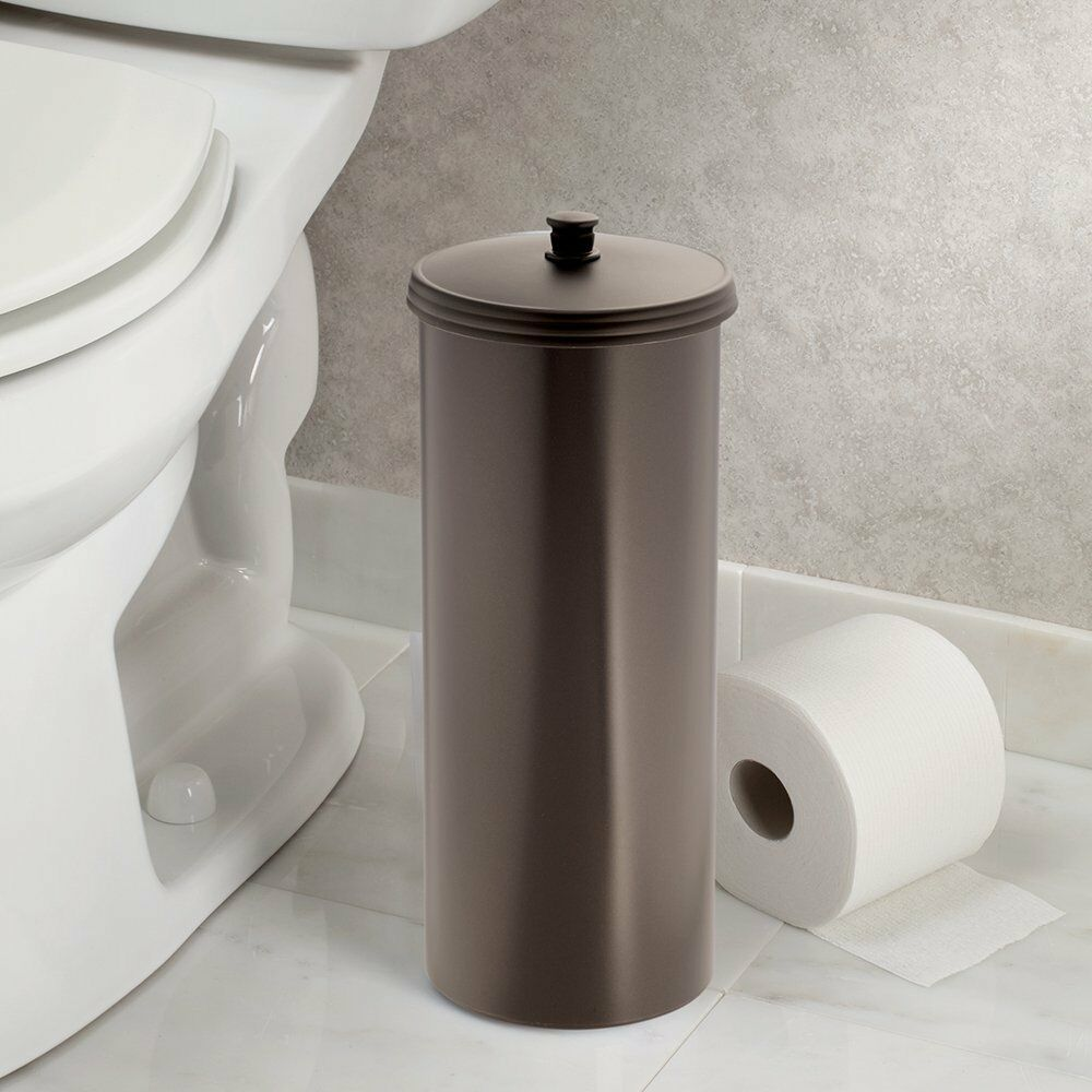 Toilet paper roll tissue holder reserve canister bathroom for Loo roll storage