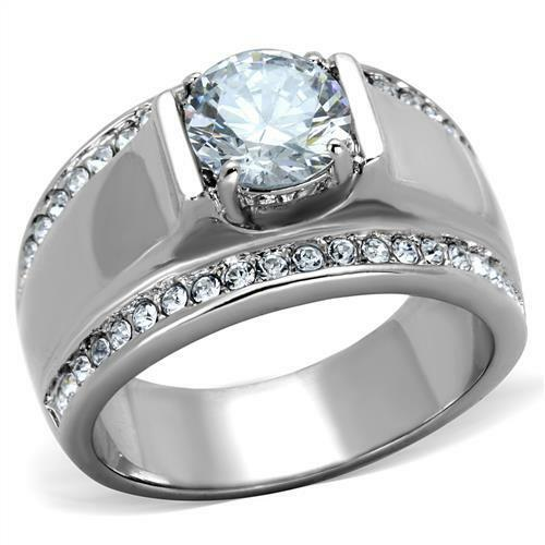 Men 39 S 2 CT Round Cubic Zirconia Silver Stainless Steel Wedding Ring Size