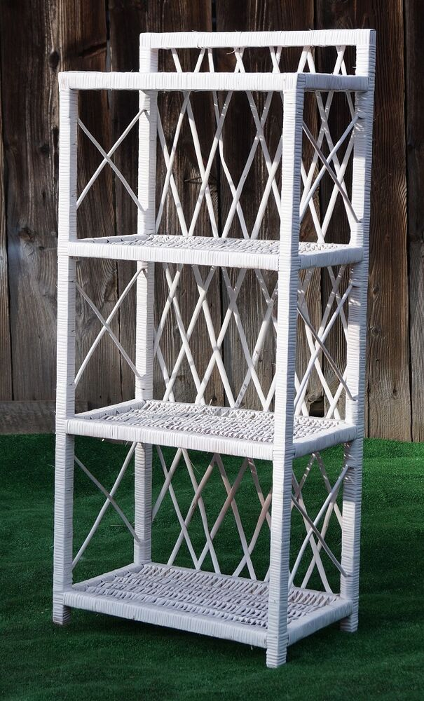 storage shelving unit wicker shelf storage unit h 102cm 40 quot white 4 shelves 26895