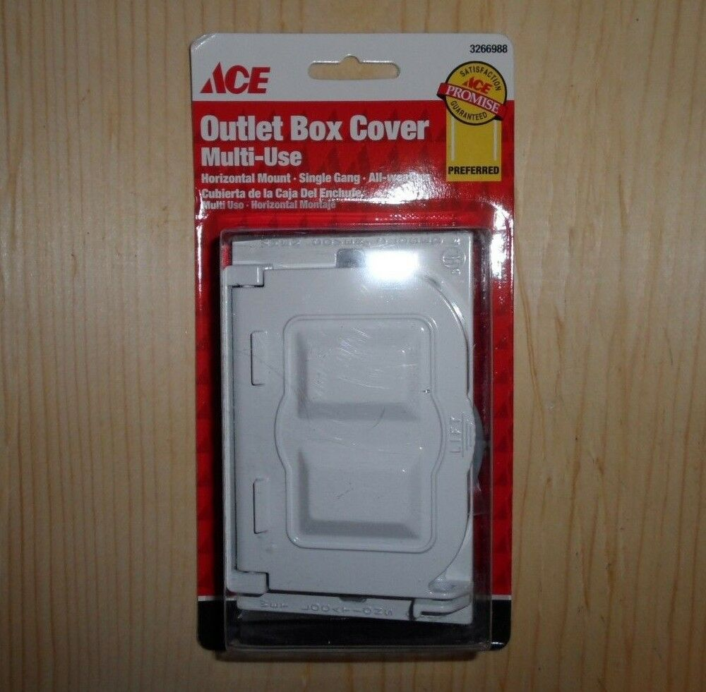 New Ace Multi Use White Outdoor Exterior Horizontal Outlet Box Cover 3266988