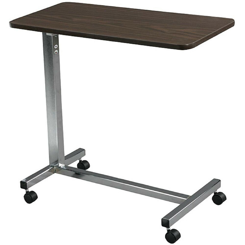Overbed table non tilt top hospital bed bedside tray adjustable rolling desk ebay - Bedside table that attaches to bed ...