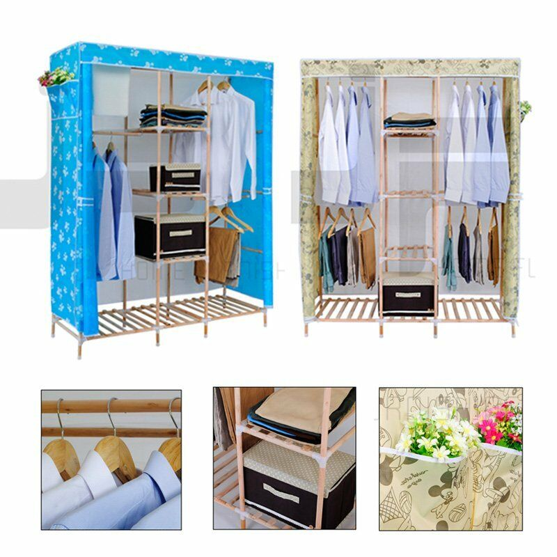 triple wooden canvas wardrobe bedroom clothes storage wardrobes hanging rails ebay. Black Bedroom Furniture Sets. Home Design Ideas