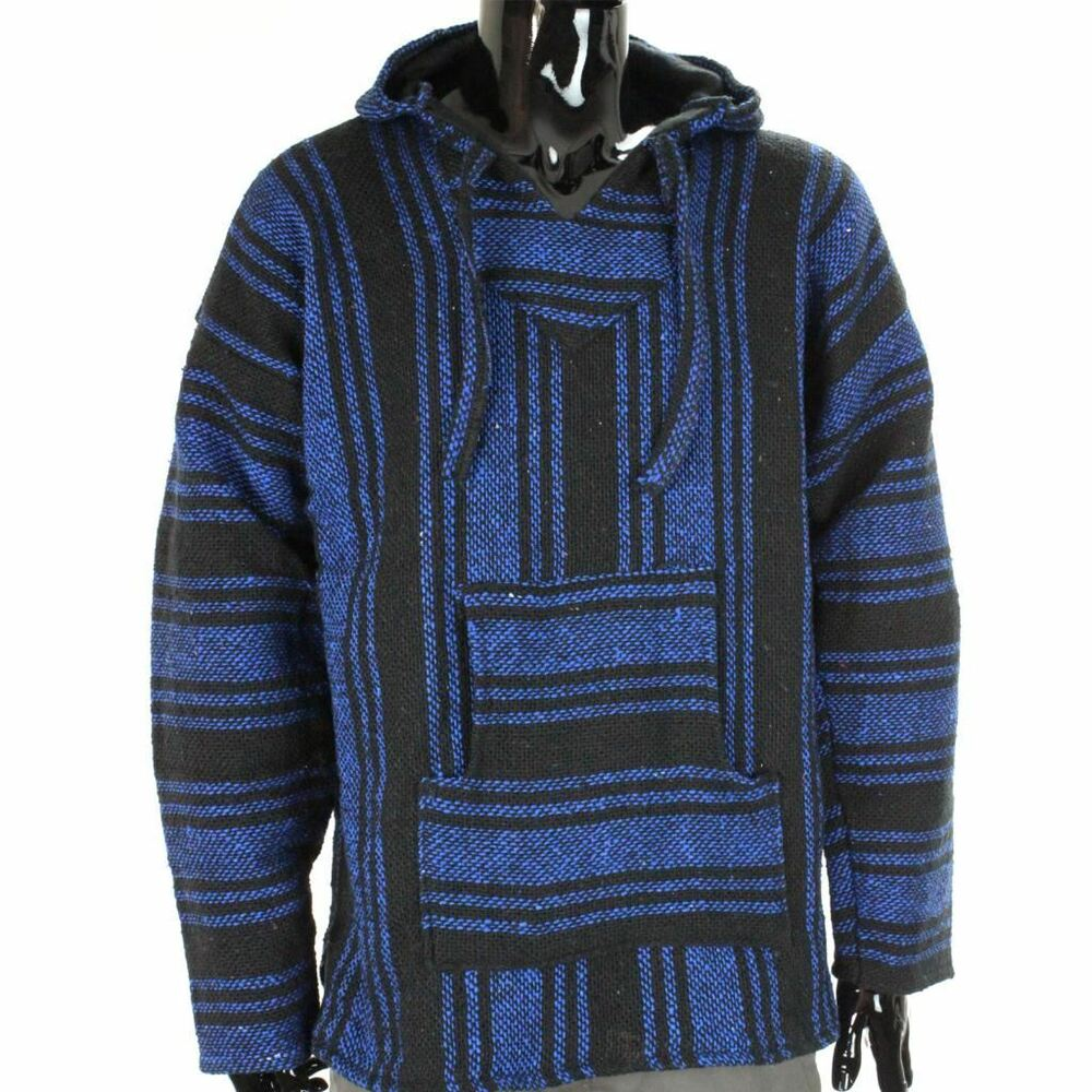 MEXICAN BAJA JERGA HOODIE HIPPIE FESTIVAL TOP BLUE & BLACK ...