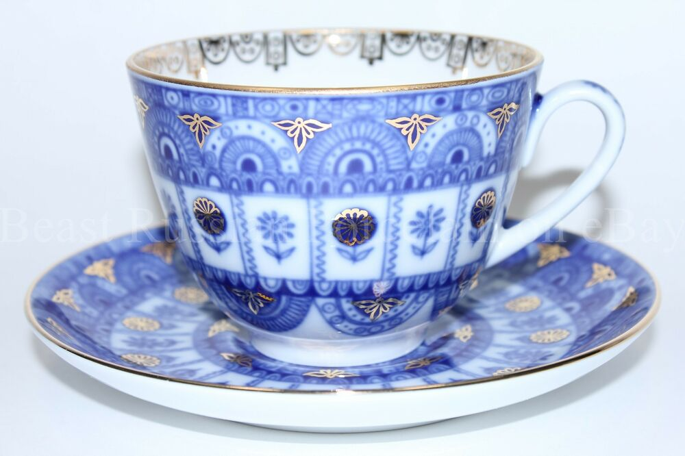 Russian Imperial Lomonosov Porcelain Tea Cup And Saucer