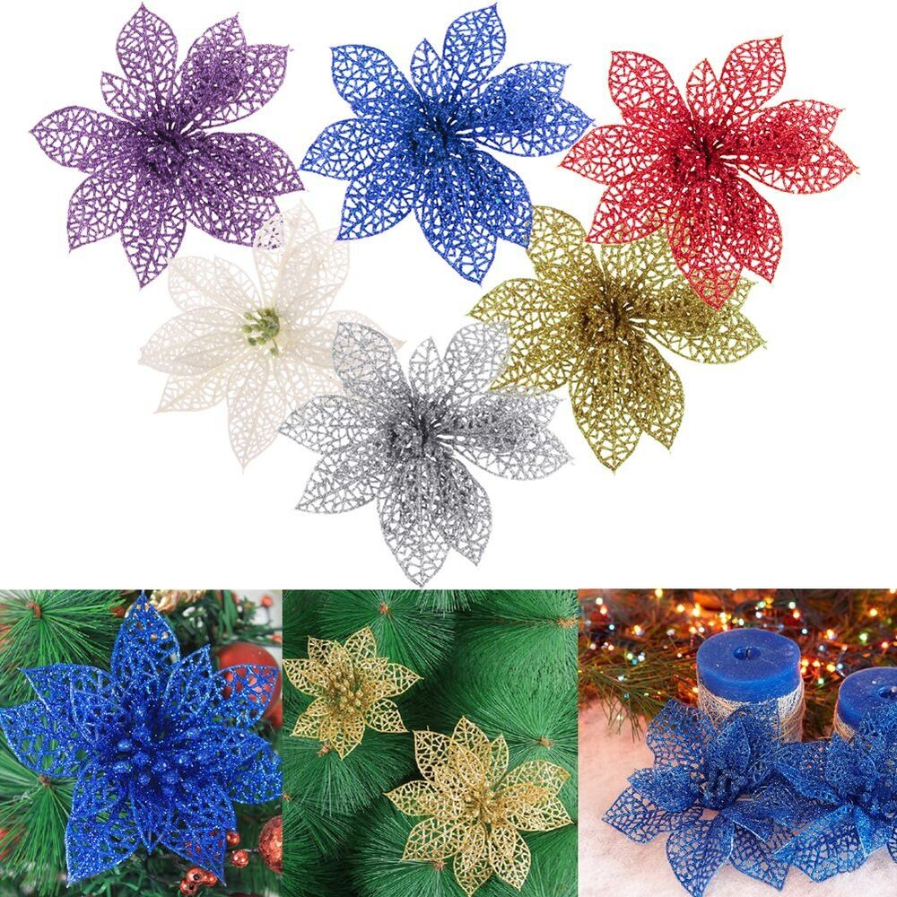 6 xmas tree decorations christmas flowers glitter hollow for California floral and home christmas decorations