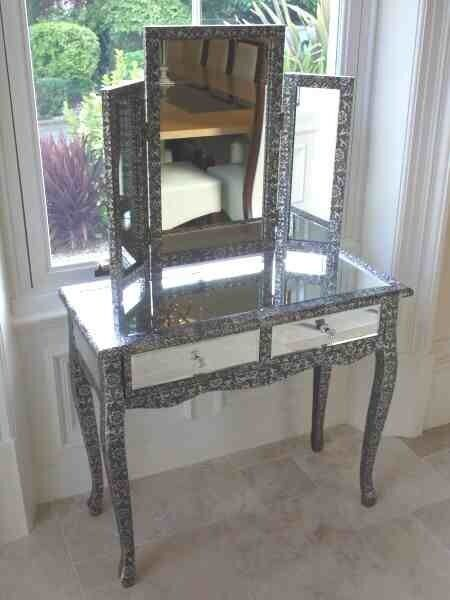 Blackened silver embossed metal mirrored dressing table