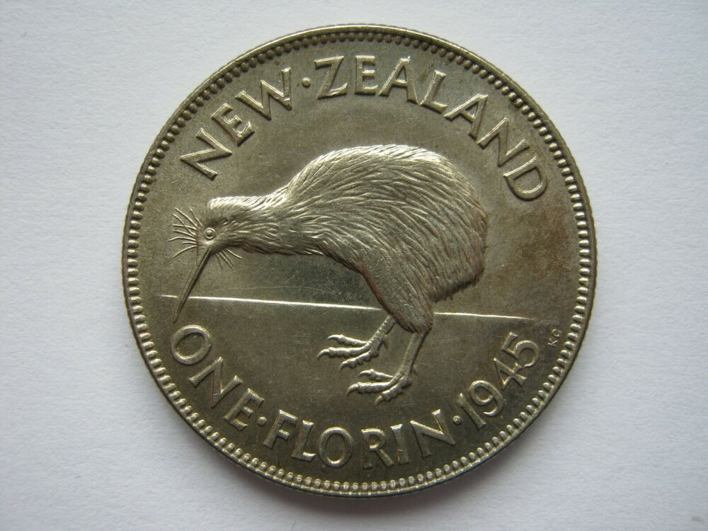 new zealand 1946 silver florin a unc but obverse. Black Bedroom Furniture Sets. Home Design Ideas