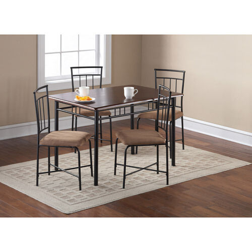 Breakfast Set Table: 5 Piece Dining Set Breakfast Furniture Wood Metal 4 Chairs