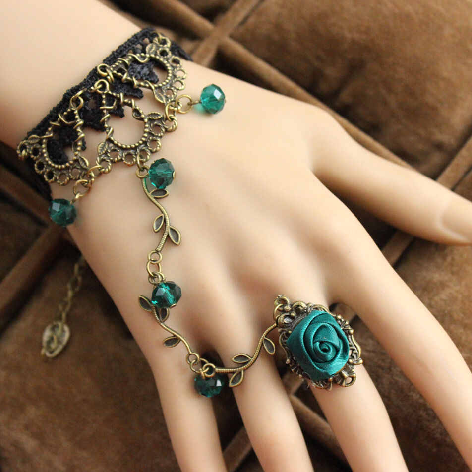 Gothic Victorian Green Rose Branch Shape Black Lace