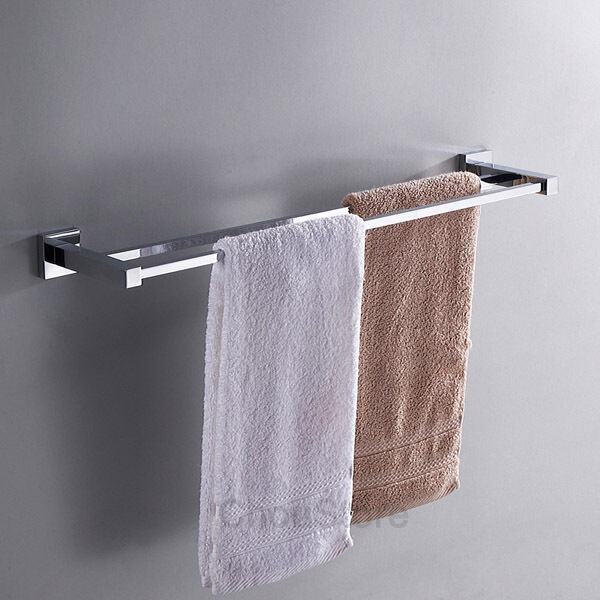 square brass 24 wall mounted towel rail double bar towel