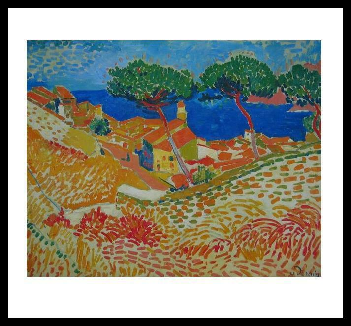 andre derain collioure poster bild kunstdruck mit alu rahmen in schwarz 48x60cm ebay. Black Bedroom Furniture Sets. Home Design Ideas
