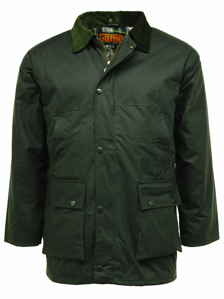 Classic Mens Game Padded Country Style Wax Cotton Rain ...