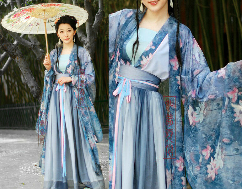 China Tang Kimono Blue Fairy Floral Chiffon Dress Custom