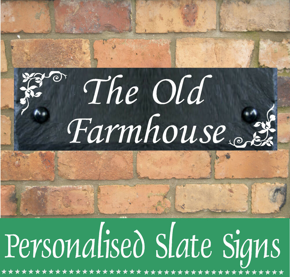 Personalised slate house sign plaque any door number house for Door name signs