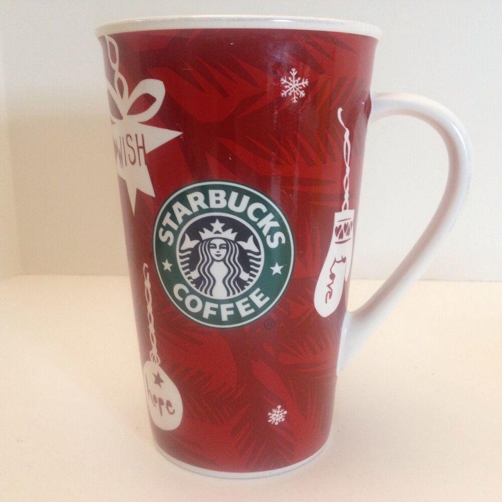Starbucks Holiday Christmas 16oz 2009 Coffee Mug Cup Bone